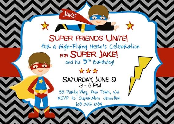 Items similar to Superhero Birthday Invitation Superhero ...