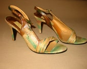 Multicolored Snakeskin Slingback Shoes, Vintage Snakeskin Heels, Colorful Pastel Strappy Shoes