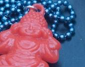 Red Buddha Necklace, Buddha Pendant, Buddha Jewelry, Buddha Hangs from Blue Ball Chain, Yoga Necklace, Yoga Gift