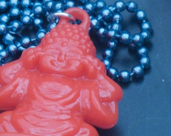 Red Buddha Necklace, Buddha Pendant, Buddha Jewelry, Buddha Hangs from Blue Ball Chain, Yoga Necklace, Yoga Gift