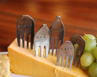 Set of 5 Hand Stamped Vintage Fork Cheese Markers
