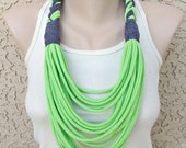 Bella Infinity Braided Scarf Up-Cycled Jersey Fabric Neon Lime Green Colorful Boho Chic Fun Design