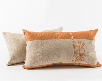 Orange cushion - Urban pattern