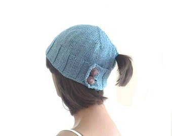 Ponytail hat, holed beret, for women , knitting womens hat, pick your color, gift for her, valentines day gift, womens clothing, accessories