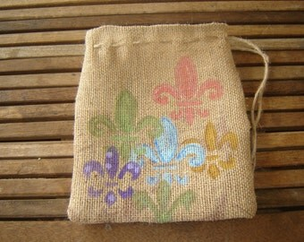 Burlap Fleur de Lis Gift Bag.......Custom Made