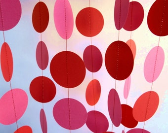 Valentine's Day Decor, Pink and Red Circle Paper Garland, Girl's Birthday Party Decorations, 10 ft. long