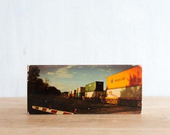 Train Crossing Art Block - ImageTransfer by Patrick Lajoie, locomotive, freight train, vintage