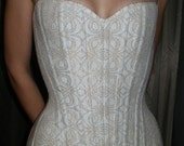 Ivory and Gold Brocade Over-Bust Corset