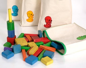 Vintage Wooden Blocks and Bag in Bright Colors and Puppy