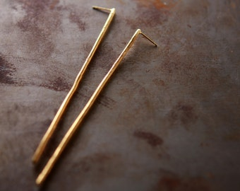 Extra long gold earrings, gold statement earrings, gold bar earrings, minimalist earrings, boho jewelry, geometric jewelry, bridal earrings