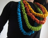 Knitted Statement necklace Blue Green Orange Yellow. Chunky Knit Necklace Cowl Neckwarmer Colar Chunky statement necklace Knitted jewellery
