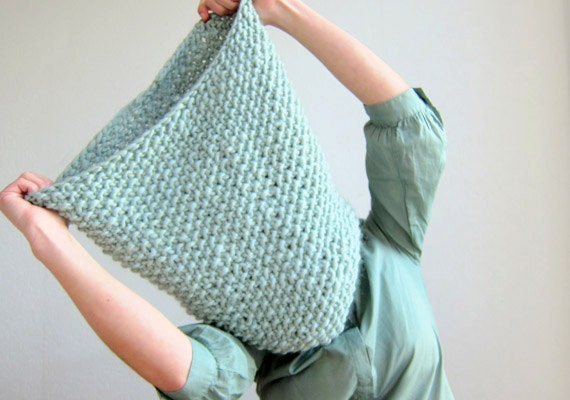 Oversized Knit Neck Warmer Mint Chunky Cowl Hooded Scarf watergreen Chunky Scarf Big knit Scarf Chunky Snood Giant Knit neckwarmer Mint