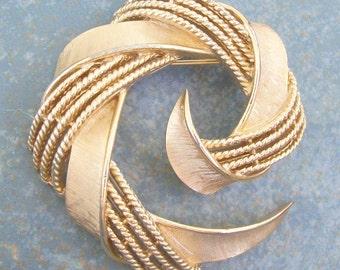 Vintage Trifari Brooch Large Gold Tone Spiral
