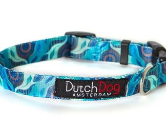 """Aqua Flora - Dog collar from recycled webbing  - Size S (10-15""""), 5/8"""" wide"""