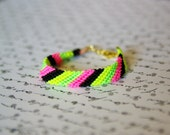 Neon Friendship Bracelet, Hot Pink, Neon Yellow, Neon Green, Black, Gold