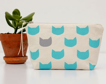 Aqua cats grey pouch - screen printed and handmade