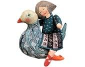 girl riding a bird. painted folk art doll - soft sculpture