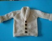 Hand knit shawl collar off white little boy cardigan