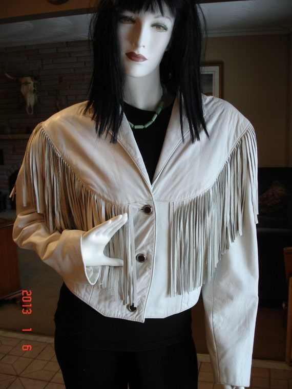 Vintage 80's  Golden Collection Pioneer Wear White Lambskin Bolero Leather Fringe Jacket S12