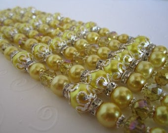 Yellow Bridesmaid Bracelet and Earring Set/Yellow Wedding/Yellow Bridal Party/Yellow Bridesmaid.