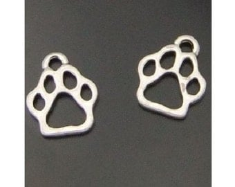 12 Pet Paw Print Charms Dog or Cat Small Paw Prints Silver Tone with Varying Dark Contrast Paws Charm Jewelry Supplies 11x12x2 mm NOTE SIZE