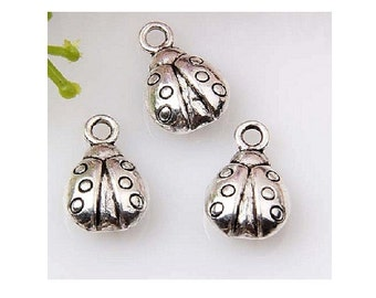 10 or 30 LADYBUG Charms Double Sided Antique Silver Tone Small Charm Jewelry Craft Supplies 14x9 mm