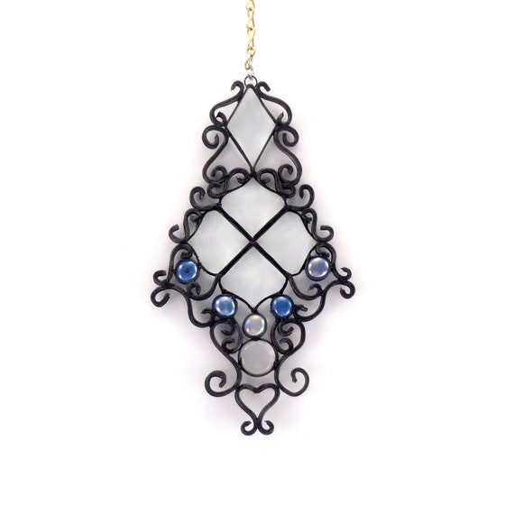 Beveled Glass Suncatcher - Stained Glass Window Hanging - Handmade Filigree