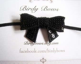 Black Sequin Bow Headband, Baby Headbands, Infant Headbands, Girl Headbands, Baby Girl Headbands, Baby Bow
