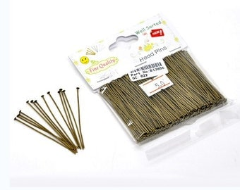 "1 Packet(300PCs) Well Sorted Antique Bronze Head Pins 5cm(2"")-1068"