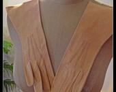 Vintage Tan Suede Gloves