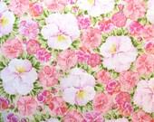 Half Yard of Vintage Sheet Fabric - Pink Pansies - 1/2 yd