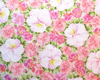Half Yard of Vintage Sheet Fabric - Pink Pansies - 1/2 yd