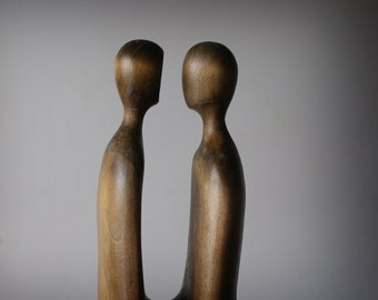Couple - modern wood sculpture, unique hand carved wood statue