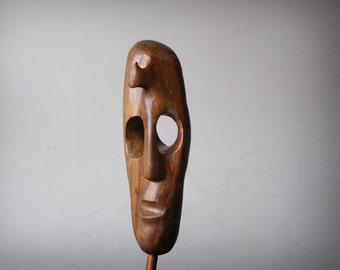 Head IV -ooak hand carved wood statue, modern wood sculpture