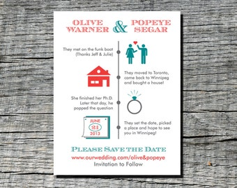 Timeline of Love - Save the Date Magnets or Card - Custom save the date magnets No.2