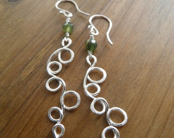 "Earrings... ""Fern Gully"" handmade and hammered fine sterling silver earrings with faceted jasper beads."