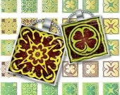 Saint Patrick's Day Shamrocks 1x1 Inch, tile size 0.75 x 0.83 Digital Images collage sheet Download Pendant Jewelry 148