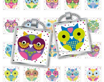 Cartoon Cute Little Owls Digital Collage Sheet square 1x1 Inch, tile size 0.75 x 0.83 images for pendants cabochon JPG 158
