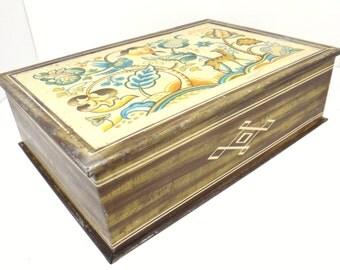 Vintage metal box, candy box, sampler design, nature