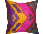 Purple and Mustard Hand Woven Uzbek Silk Ikat Pillow Cover 16'' x 16''