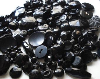 Black Glass Button Grab Bag - 25 Black Czech Glass Buttons - Assorted Black Glass Buttons