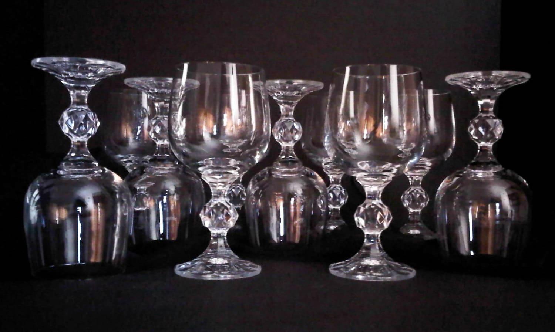 Bohemia Crystal Stemware Claudia Pattern Wine Glasses Set Of