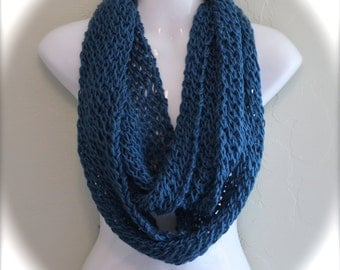 Teal Blue Infinity Scarf. Teal Infinity Scarf. Hand Knitted Scarf. Women's Scarves. Light weight scarves. Women's Infinity Scarves.
