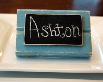 Chalkboard Place Cards - Table Markers - Distressed Wood - Sky Blue - Set of 4