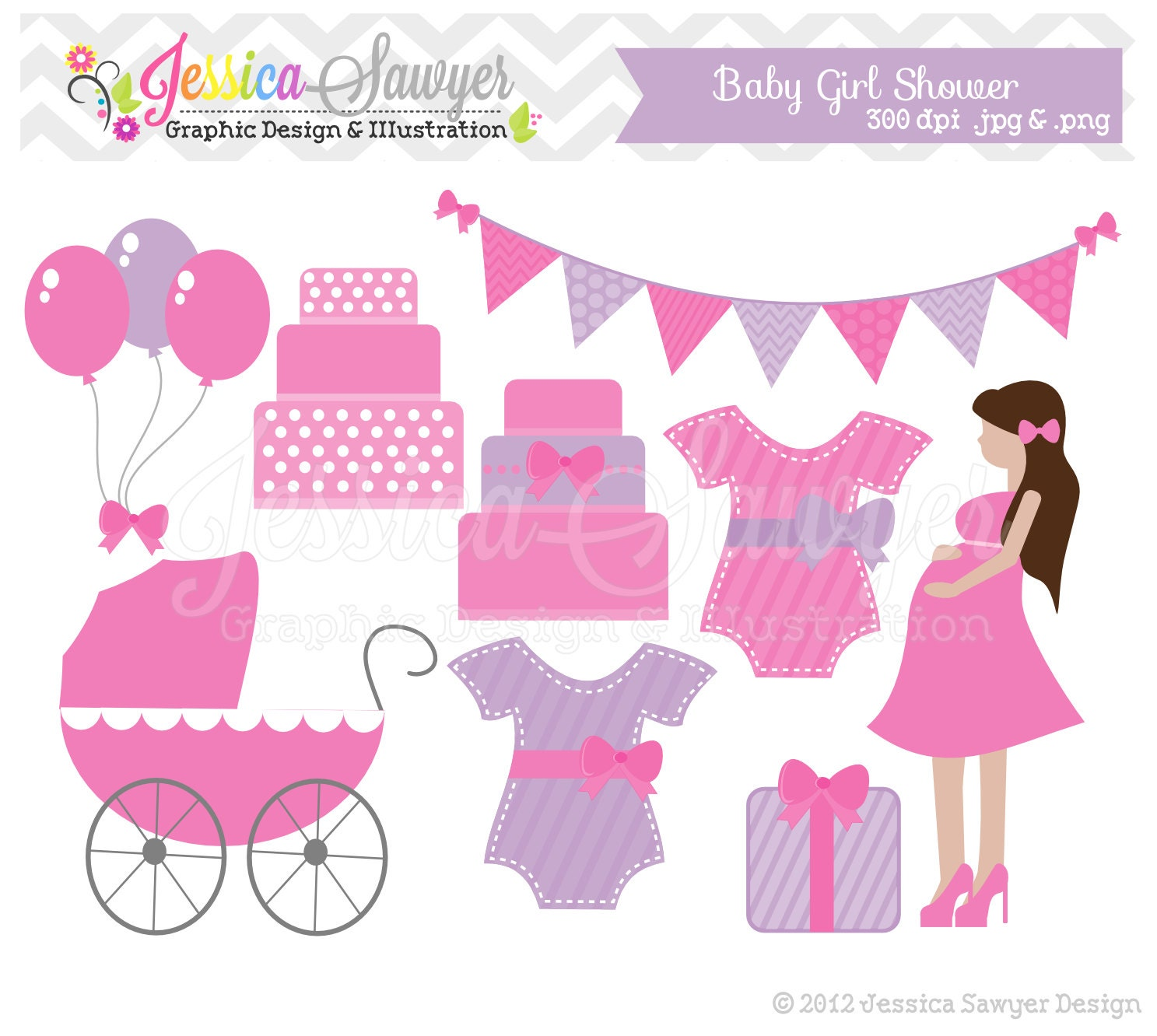 INSTANT DOWNLOAD baby shower clip art baby girl clipart