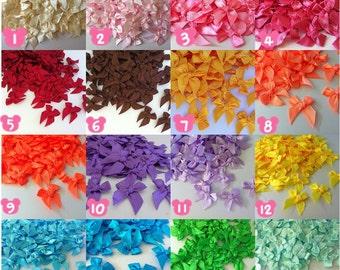 100 PCS of Satin Ribbon Bow Applique Embellishments (Mix color)