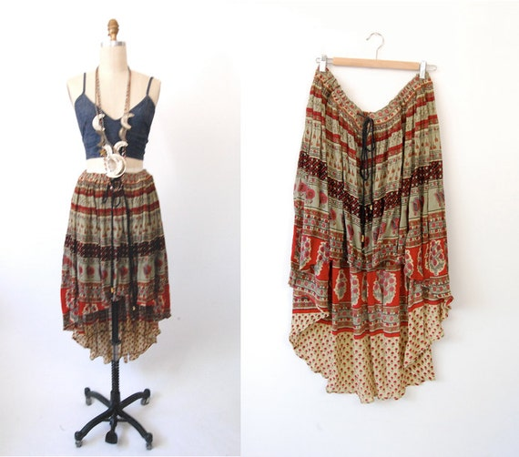 vintage upcycled high low boho maxi skirt plus size by
