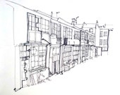 Line Drawing of a Lane of Workshops