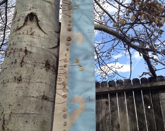 Child's growth chart, fabric tree in natural and blue linen, woodland folk art growth chart