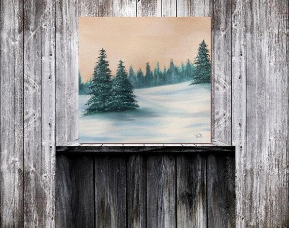 Original Painting, Winter Landscape Painting, Snowy Landscape Oil Painting, Winter Scene, Winter Art Wall Decor, Canvas Art, 12 x 12
